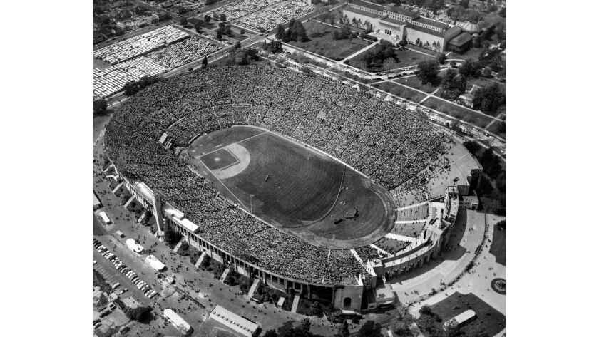 April 18, 1958: An aerial photo of Memorial Coliseum during opening ceremonies of the first Dodger g