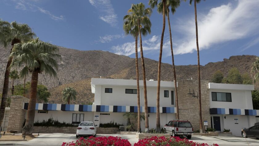 PALM SPRINGS, CALIF. -- FRIDAY, OCT. 13, 2017: Exterior view of the Holiday House Hotel in Palm Spr