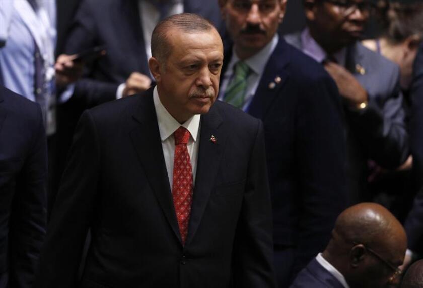 El presidente de Turquía, Recep Tayyip Erdogan, durante la apertura de los debates de la Asamblea General de Naciones Unidas, en la sede de la ONU en Nueva York, Estados Unidos, hoy, 25 de septiembre de 2018. EFE