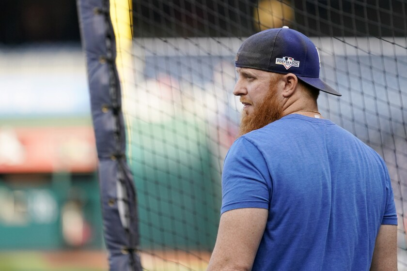 Justin Turner of the Los Angeles Dodgers takes batting practice before Game Four of the National League Divisional Series against the Washington Nationals on October 7.