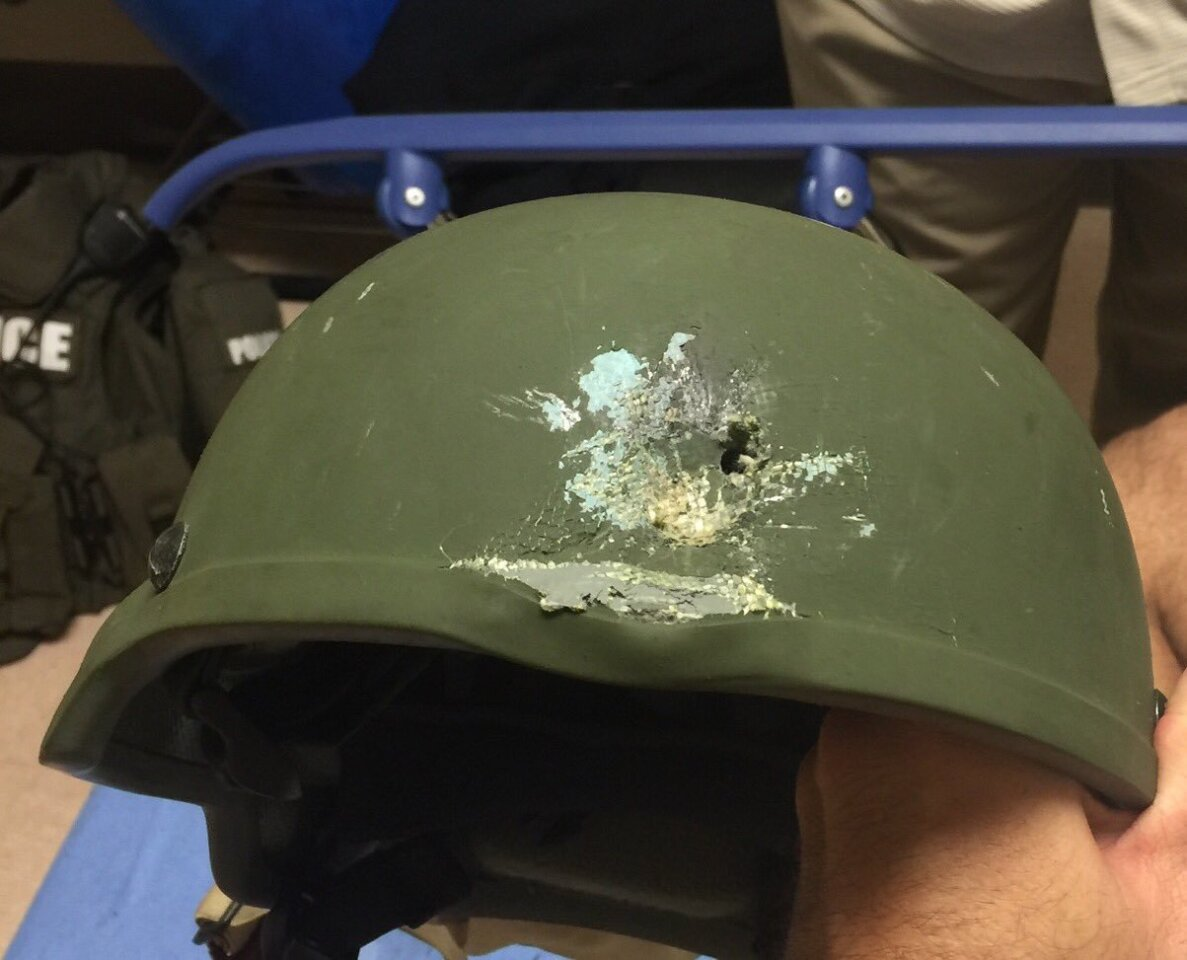 Orlando Police shared this photo on Twitter showing where a bullet struck an officer's helmet. The officer's life was saved because of the helmet.