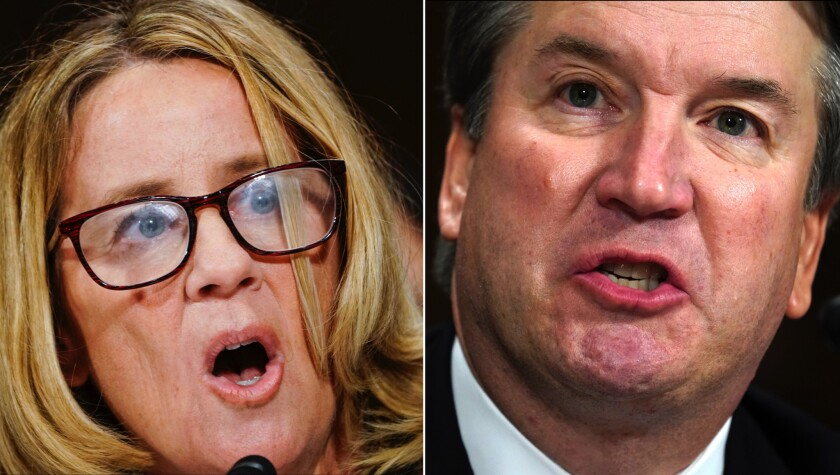 File photos of Dr. Christine Blasey Ford and Brett Kavanaugh during testimony for Kavanaugh's Senate Judiciary Committee confirmation hearing.