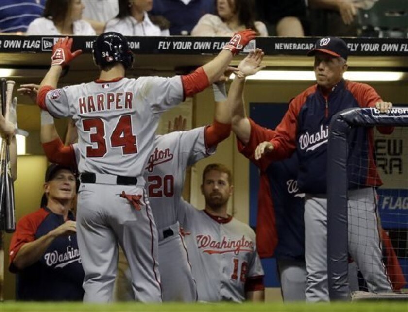 Washington Nationals' Bryce Harper (34) is congratulated in the dugout after hitting a home run during the sixth inning of a baseball game against the Milwaukee Brewers, Friday, Aug. 2, 2013, in Milwaukee. (AP Photo/Morry Gash)