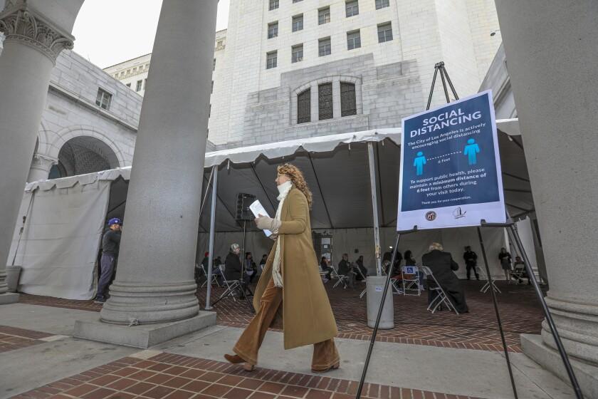 A tent outside L.A. City Hall