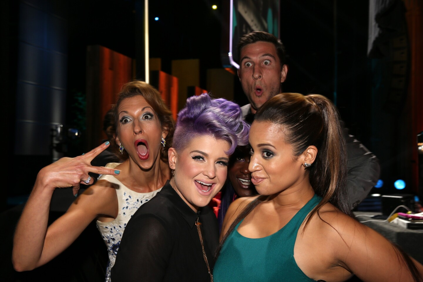 Alysia Reiner, left, host Kelly Osbourne, Pablo Schreiber and Dascha Polanco attend the 2014 Young Hollywood Awards at the Wiltern in Los Angeles.