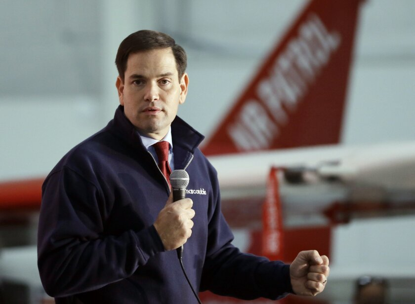 Republican presidential candidate Sen. Marco Rubio (R-Fla.) campaigning this week: What is he really bragging about?