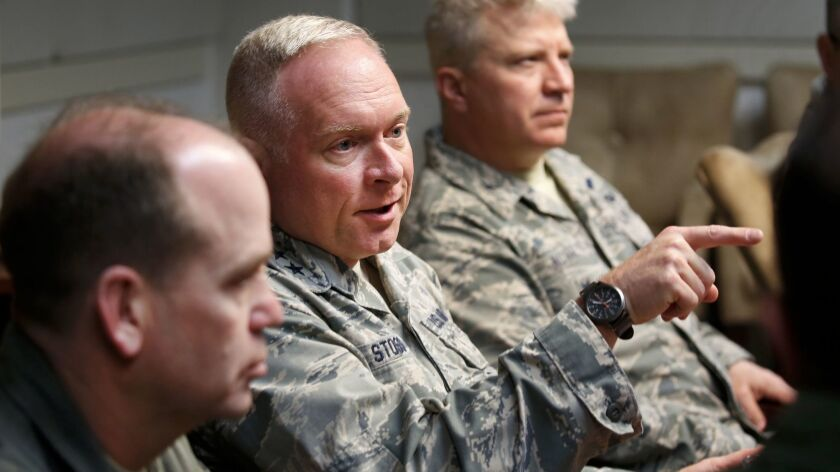 Maj. Gen. Fred B. Stoss III, center, director of operations at Air Force Global Strike Command.