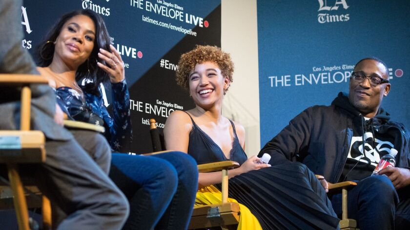 """Actors Regina Hall, left, and Amandla Stenberg, and director George Tillman Jr., discuss """"The Hate U Give"""" during an Envelope Live screening at the Montalbán in Los Angeles."""