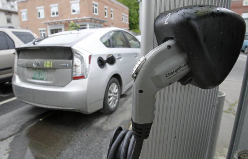 An electric car at a  charging station