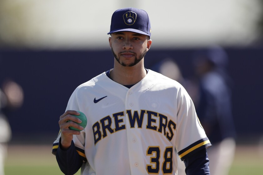 Milwaukee Brewers relief pitcher Devin Williams during spring training.
