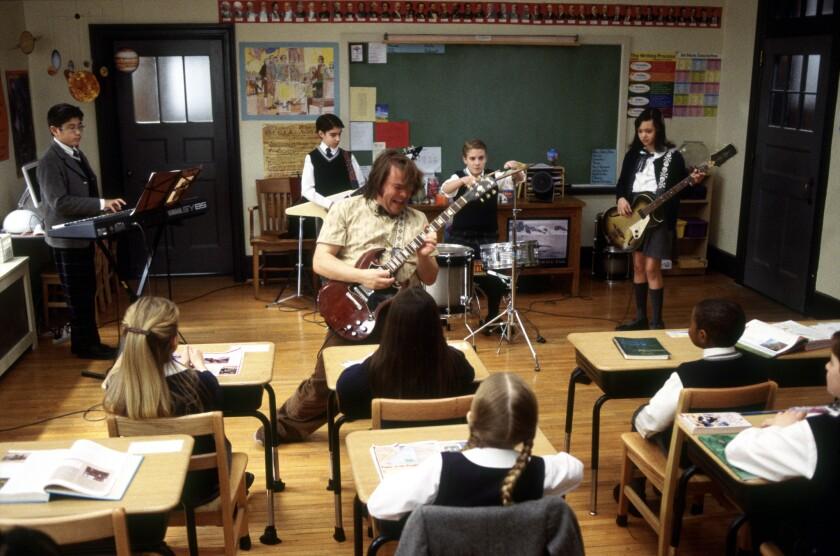 "Jack Black plays a teacher in the 2003 movie ""School of Rock."""