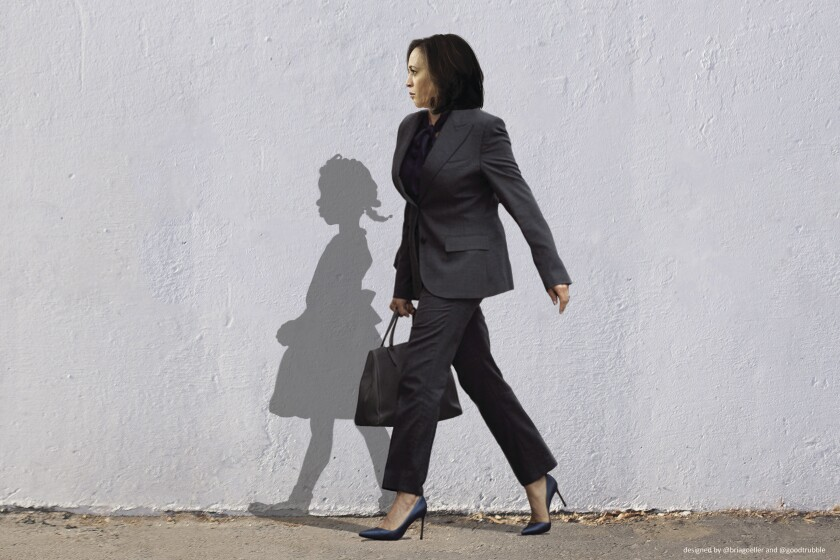 An illustration shows Vice President-elect Kamala Harris walking alongside the shadow of civil rights icon Ruby Bridges.