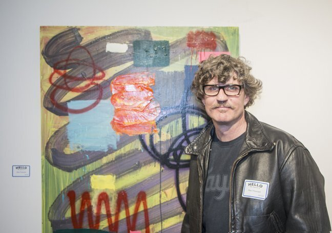 L.A. artist Max Presnell, British-born curator/director of Torrance Art Museum and co-creator of MAS Attack, with his painting