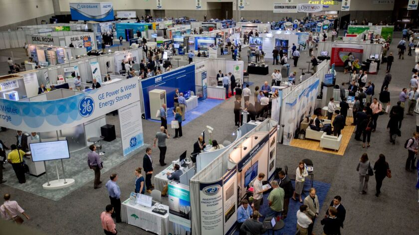 The exhibit floor at the Energy Storage North America conference in October 2016.