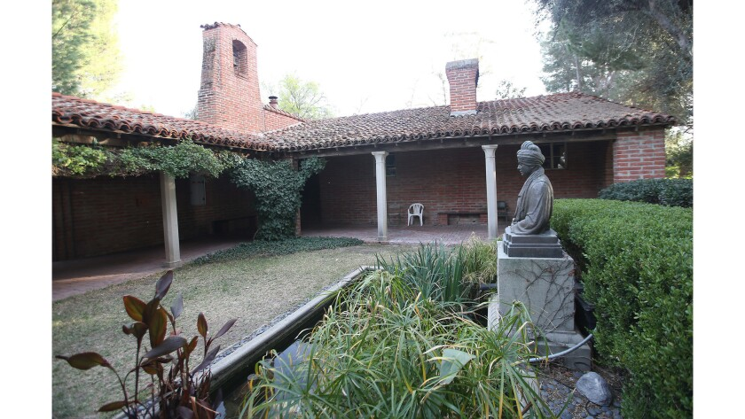 The lecture hall, library, and courtyard at the Ramakrishna Monastery in Trabuco Canyon.