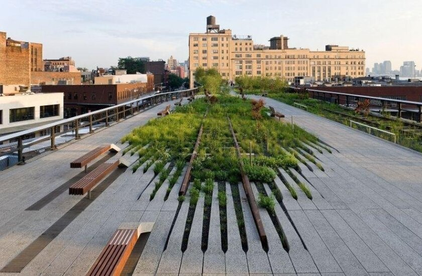 The High Line is an elevated freight rail line transformed into a public park on Manhattan's West Side. It is owned by the City of New York, and maintained and operated by Friends of the High Line.