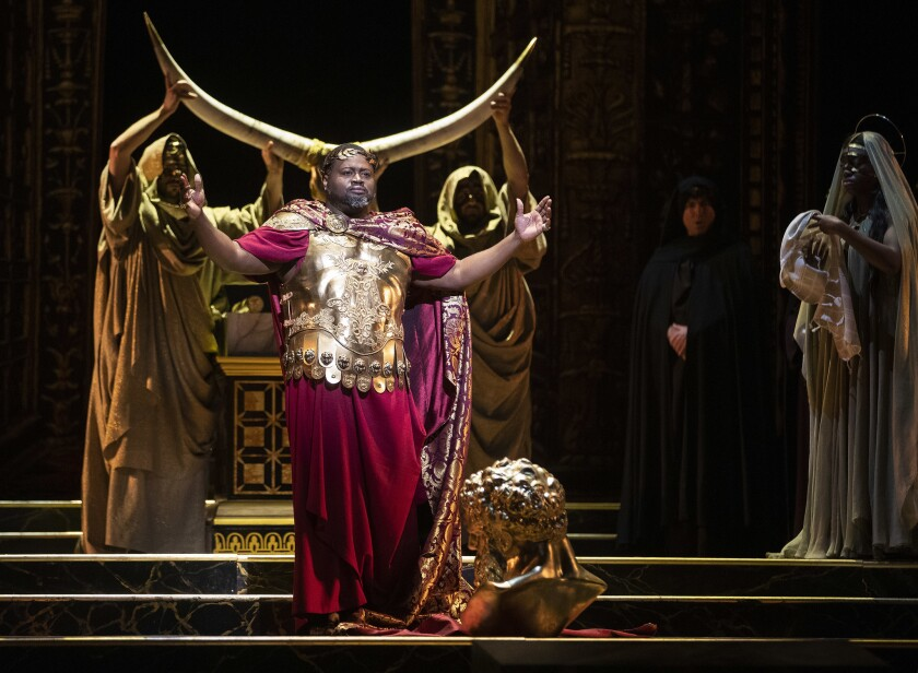 "Russell Thomas is Titus, emperor of Rome, in Los Angeles Opera's production of ""La Clemenza di Tito"" (The Clemency of Titus) at the Dorothy Chandler Pavilion."