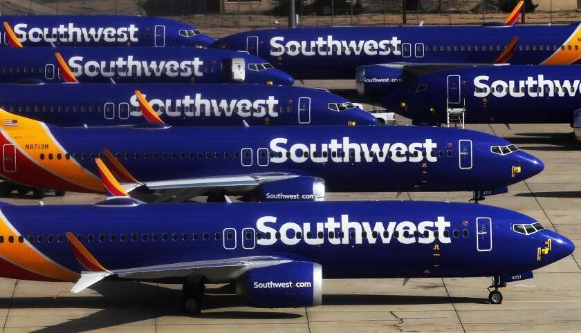 Southwest Airlines Boeing 737 Max aircraft parked at Southern California Logistics Airport on March 27 in Victorville.