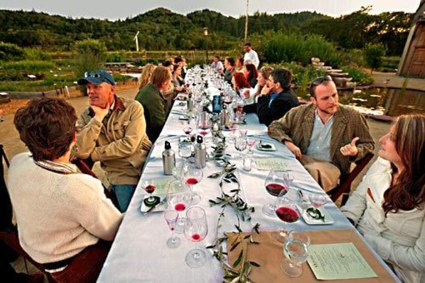 """The """"Farm to Table Dinners"""" at Quivira Vineyards in Healdsburg allow visitors to enjoy leisurely evening meals amid the vines."""