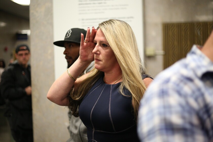 Sarah Morin is pictured after appearing in Manhattan Criminal Court on Thursday in New York. Morin accepted a plea deal for allegedly stealing jewelry from a pro boxer at JAY-Z's Midtown club.