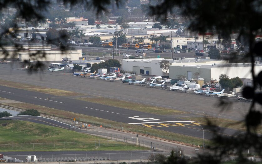 The Oceanside Airport can be seen from the hill where the Prince of Peace Abbey is located. photo by Bill Wechter