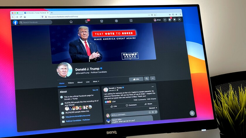 The Facebook page of Donald Trump, the former president, is seen on a computer monitor