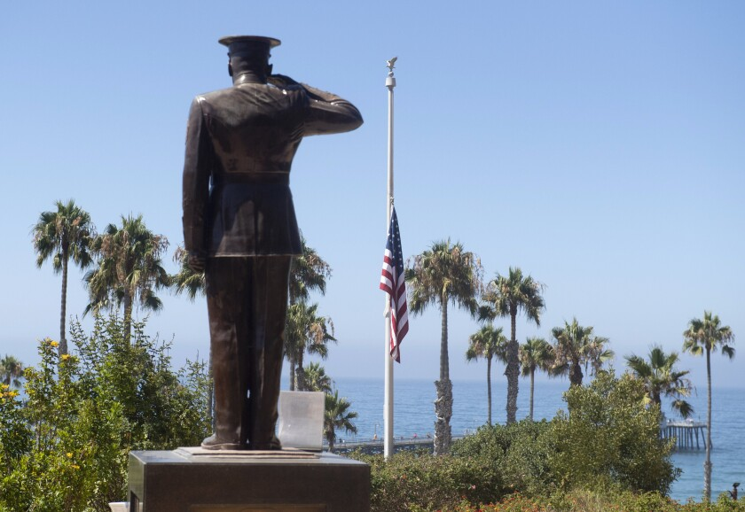 The U.S. flag was lowered to half-staff at Park Semper Fi in San Clemente on Friday