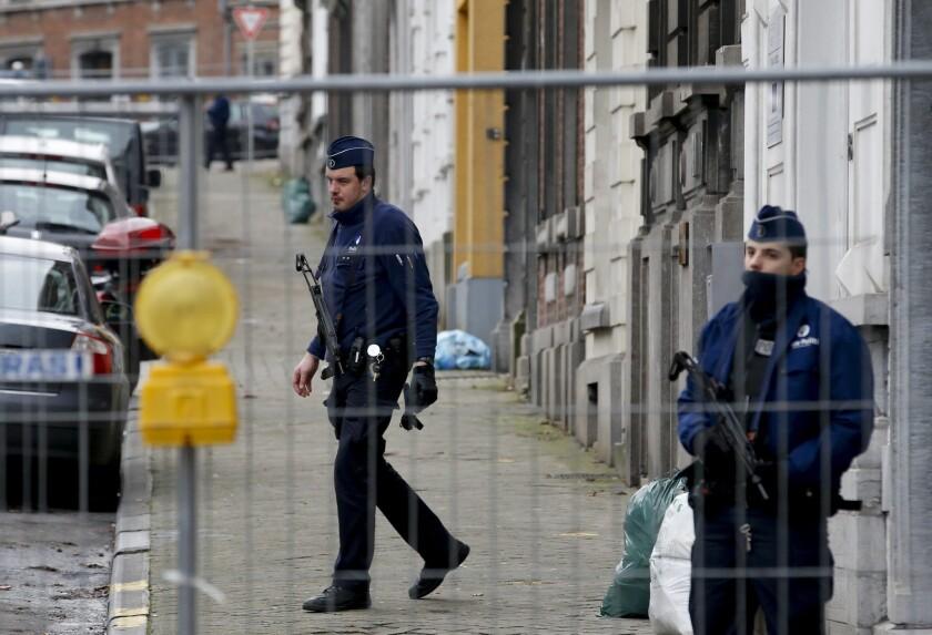 Police block a street in Verviers, Belgium, during an anti-terrorist operation on Jan. 16.