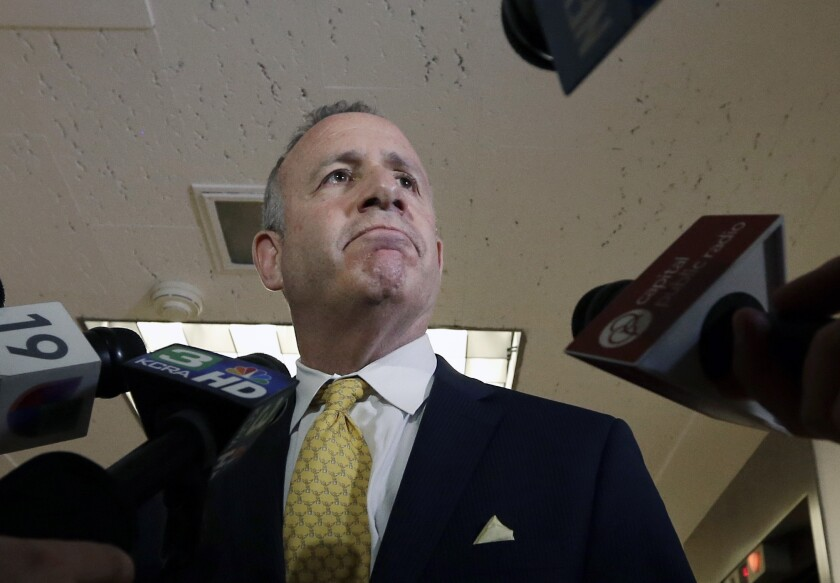 Senate President Pro Tem Darrell Steinberg resigned from a law firm tied to the son of a figure in a federal probe.