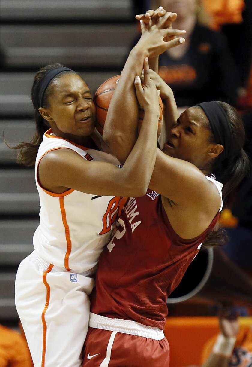 Oklahoma State's Roshunda Johnson, left, and Oklahoma's Kaylon Williams battle for the ball during an NCAA college basketball game in Stillwater, Okla., Monday, March 2, 2015. (AP Photo/The Oklahoman, Nate Billings) LOCAL STATIONS OUT (KFOR, KOCO, KWTV, KOKH, KAUT OUT); LOCAL WEBSITES OUT; LOCAL PR