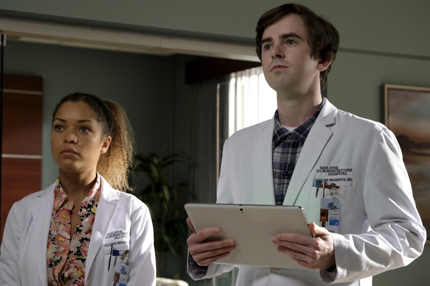 "Antonia Thomas and Freddie Highmore in ""The Good Doctor"" on ABC."
