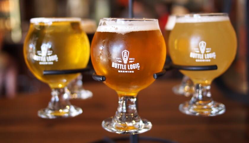 A beer flight from Bottle Logic in Orange County.