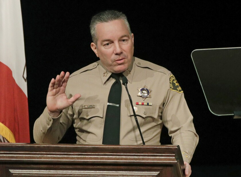 Los Angeles County Sheriff Alex Villanueva speaks during a ceremony in Monterey Park in 2018.