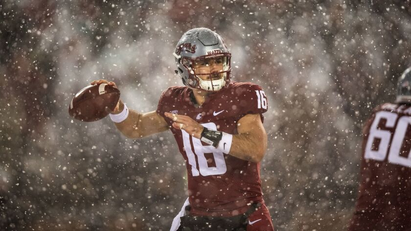 Washington State quarterback Gardner Minshew threw for 152 yards with no touchdowns against rival Washington on Nov. 23 at Martin Stadium in Pullman, Wash. Washington won 28-15.