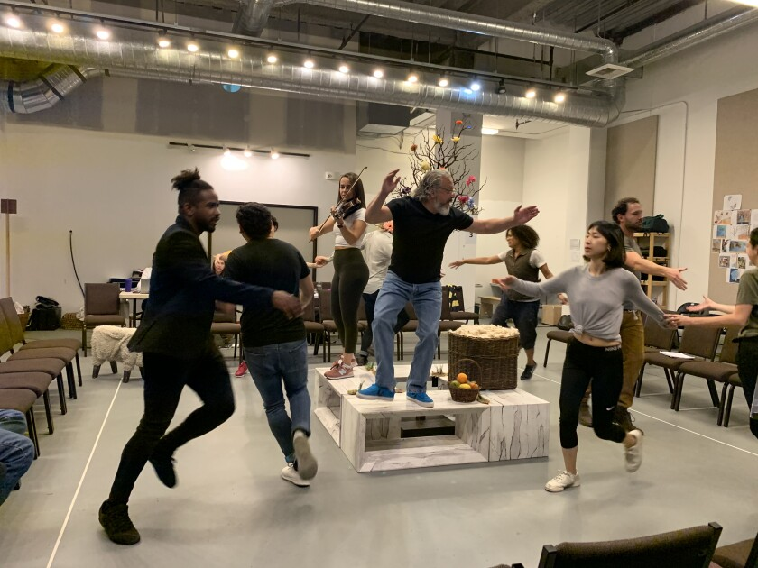 """A scene from a Globe for All rehearsal of """"The Winter's Tale."""""""