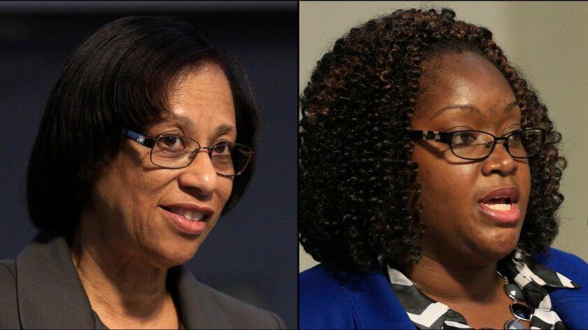 Sharon Whitehurst-Payne, left, and 2016 school board opponent LaShae Collins.
