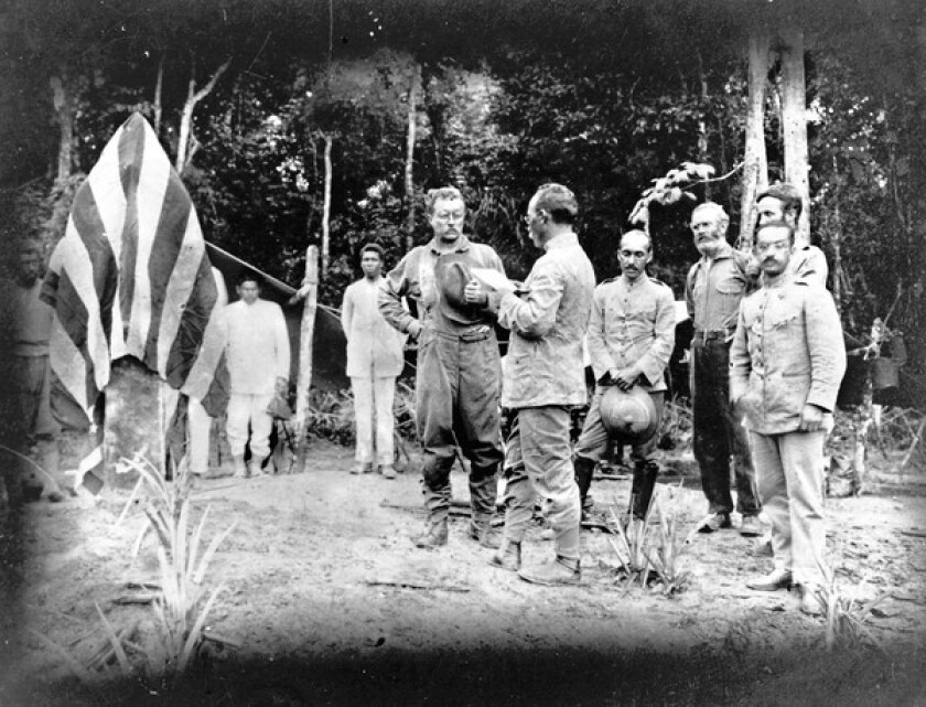 In 1914, Theodore Roosevelt explored Brazil's daunting River of Doubt with another colonel, Cândido Mariano da Silva Rondon, facing Roosevelt, center.
