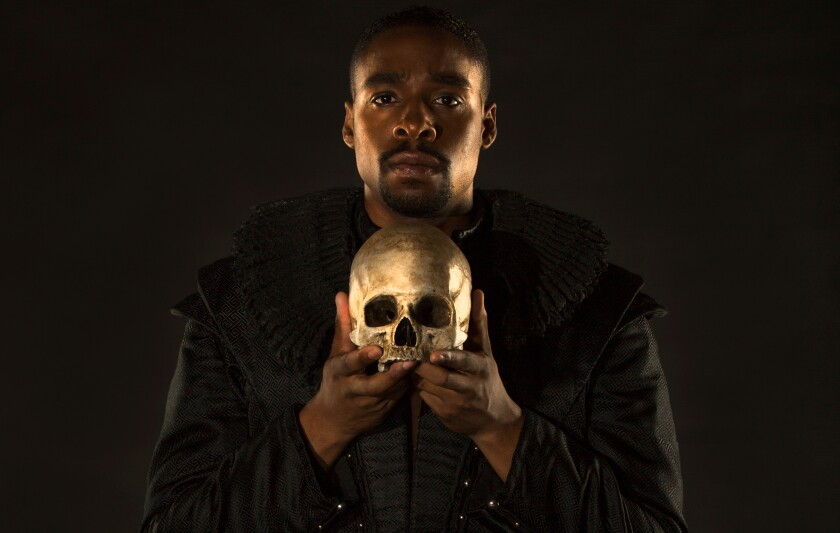 """Grantham Coleman in The Old Globe's 2017 production of """"Hamlet."""""""