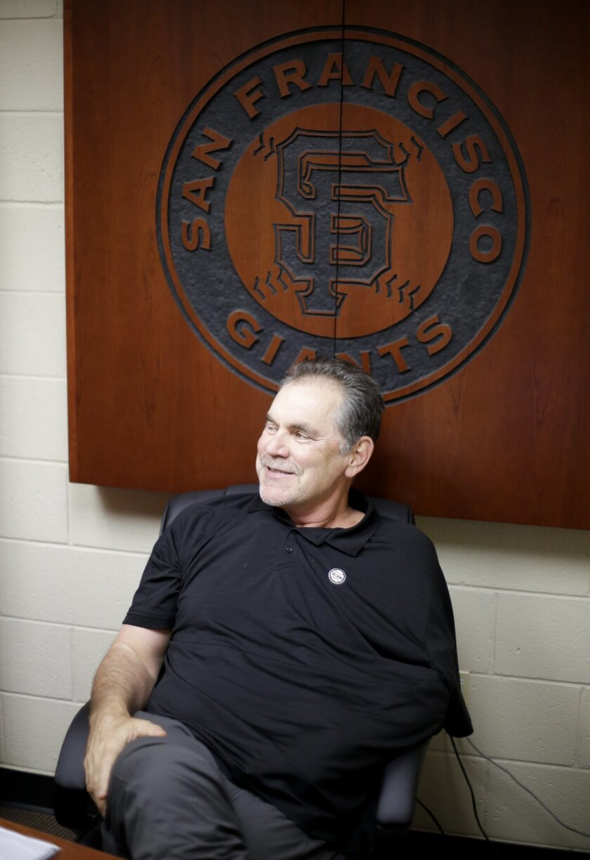 San Francisco Giants manager Bruce Bochy talks to the media the day before the spring baseball season begins in Scottsdale, Ariz., Wednesday, Feb. 17, 2016. (AP Photo/Chris Carlson)