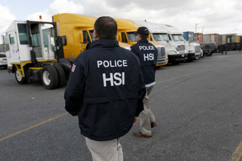 Homeland Security Investigations, the investigative arm of ICE, serves several businesses with notices that they have been targeted to be audited in Compton, Calif., in February 2018.