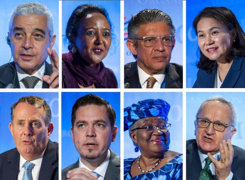 This photo combo shows the candidates for the WTO Director-General selection process at the headquarters of the World Trade Organization (WTO) in Geneva, Switzerland, pictured from Wednesday to Friday, July 15 - 17, 2020. Top row form left, Abdel Hamid Mamdouh, of Egypt, Amina Mohamed, of Kenya, Mohammad Maziad Al-Tuwaijri, of Saudi Arabia, and Yoo Myung-hee, of Korea. Bottom row from left, Liam Fox, of United Kingdom, Tudor Ulianovschi, of Moldova, Ngozi Okonjo-Iweala,of Nigeria and Jesus Seade Kuri, of Mexico. (Martial Trezzini, Salvatore Di Nolfi/Keystone via AP)