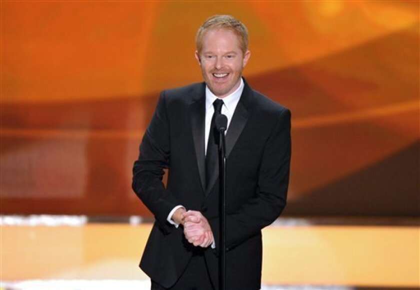 """FILE - This Jan. 27, 2013 file photo shows actor Jesse Tyler Ferguson from the ABC comedy series """"Modern Family,"""" on stage at the 19th Annual Screen Actors Guild Awards at the Shrine Auditorium in Los Angeles. The Public Theater announced Tuesday that the """"Modern Family"""" actor will play Dromio oppo"""