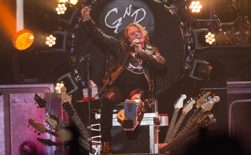 Axl Rose on Dave Grohl's throne at the Coachella Valley Music and Arts Festival on April 16.