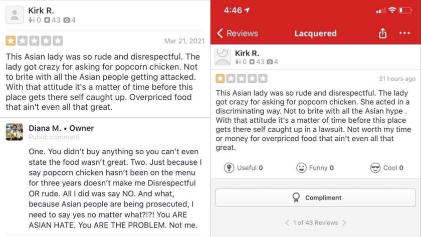 Screenshots of Yelp reviews for Lacquered restaurant in Long Beach.