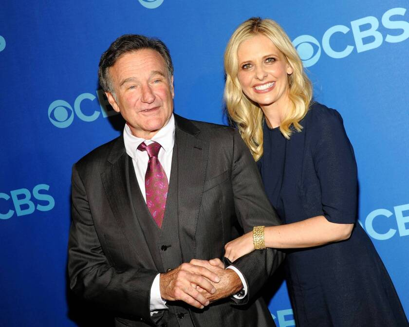 """Robin Williams and Sarah Michelle Gellar of """"The Crazy Ones"""" attend CBS 2013 Upfront Presentation in New York City."""
