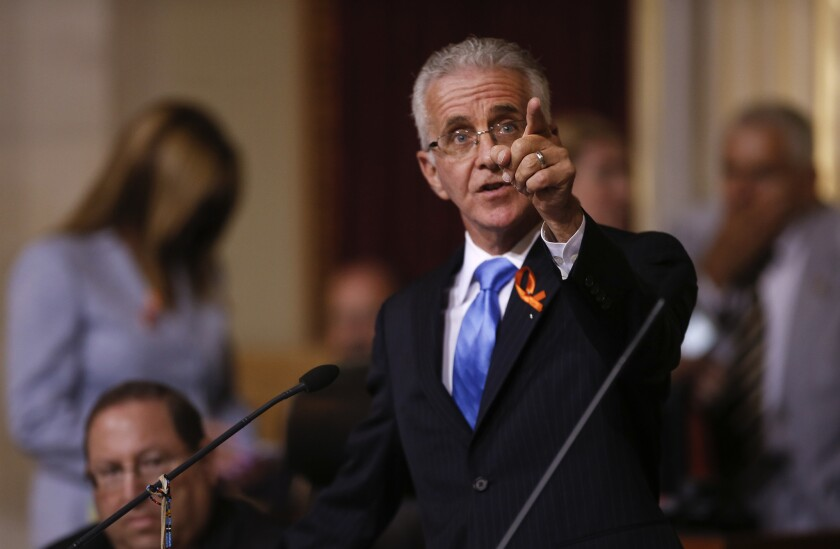 Paul Krekorian addresses colleagues on the Los Angeles City Council during a recent discussion over his proposal to require trigger locks for handguns, a measure the council approved on Tuesday.