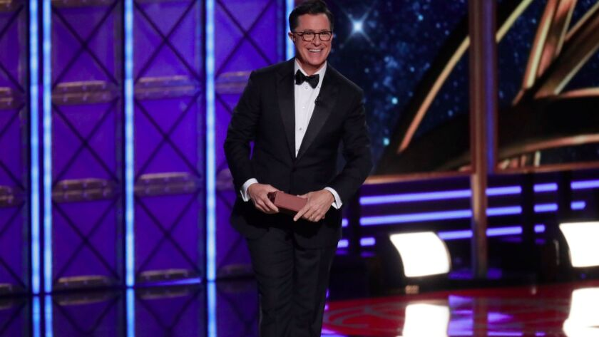 Stephen Colbert hosts the 69th Primetime Emmy Awards at the Microsoft Theater in Los Angeles.