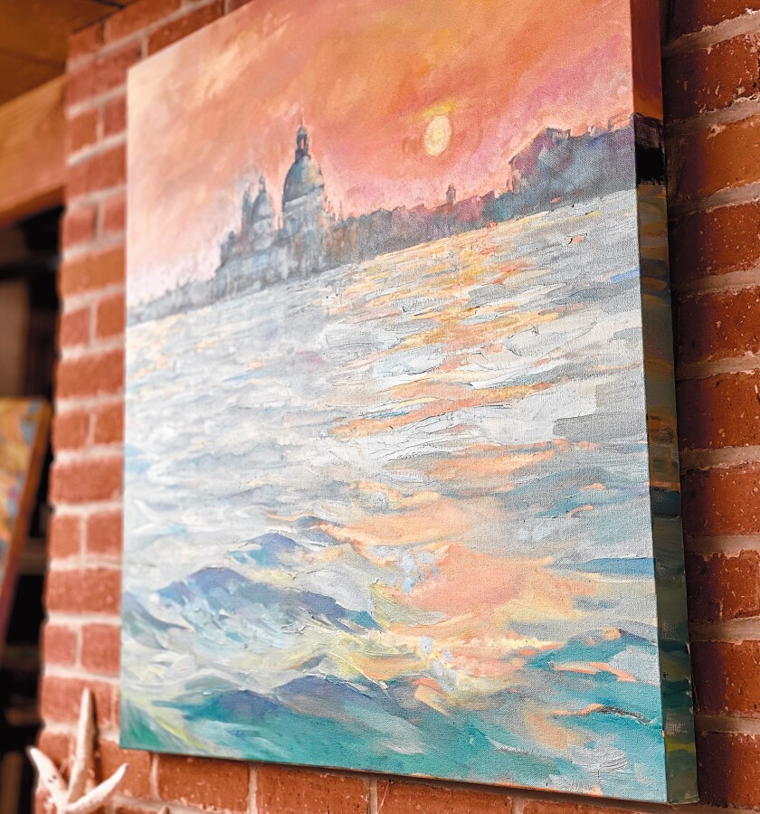 'Heavenly Halo,' one of Cherry Sweig's favorite pieces, hangs in her Windansea cottage before being moved to St. James by-the-Sea Episcopal Church for the exhibit. Cherry Sweig's art exhbit, 'Finding Venetian Angels,' is on display Feb. 28-April 12, 2020 at St. James by-the-Sea Episcopal Church's Gallery by-the-Sea, 743 Prospect St., La Jolla. The exhibit can be viewed 12:30-3 p.m. Wednesdays, 11 a.m. to 2 p.m. Saturdays, and 8:30-10 a.m. and 11 a.m. to 2 p.m.