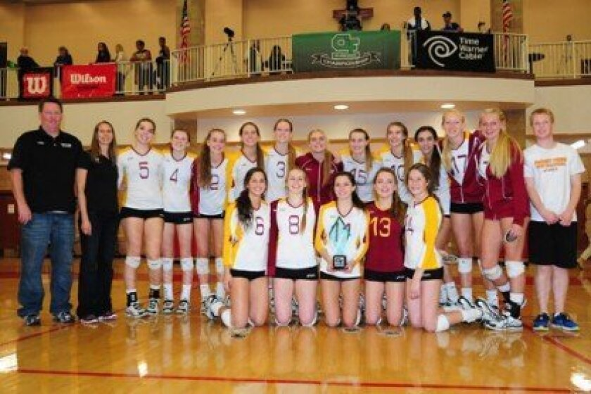 The Torrey Pines High School girls volleyball team won the open division CIF championship over Francis Parker. Photo/Anna Scipione