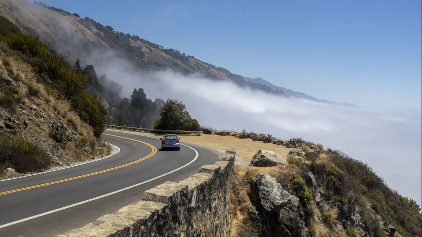 Fog clears near Lucia on the 650-mile Highway 1 that cuts through Big Sur, Calif.